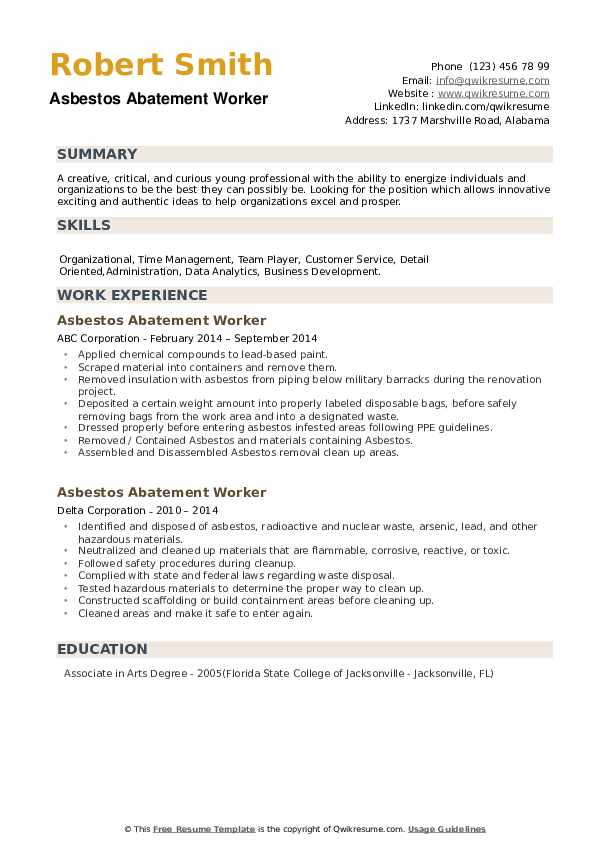 Asbestos Abatement Worker Resume example