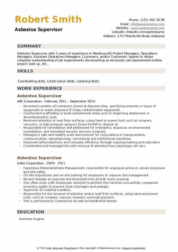 Asbestos Supervisor Resume example