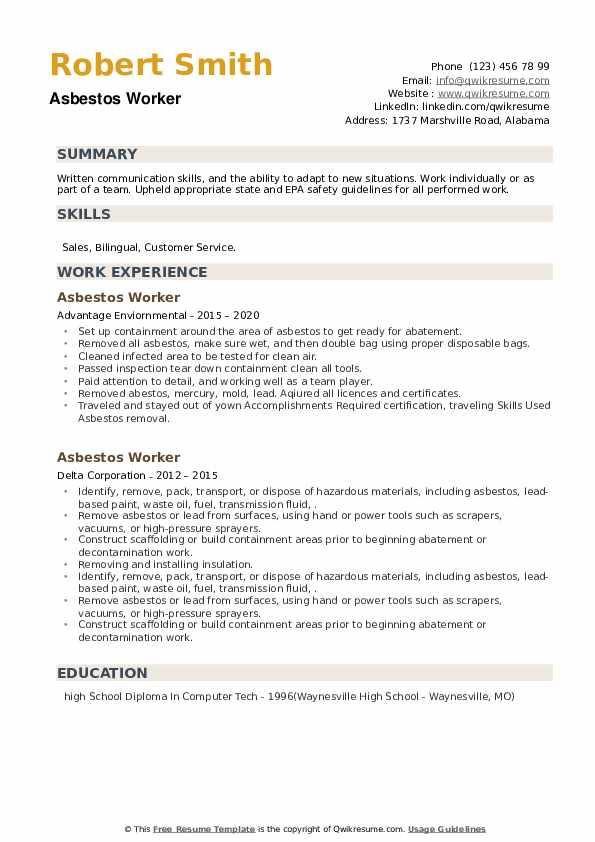 Asbestos Worker Resume example