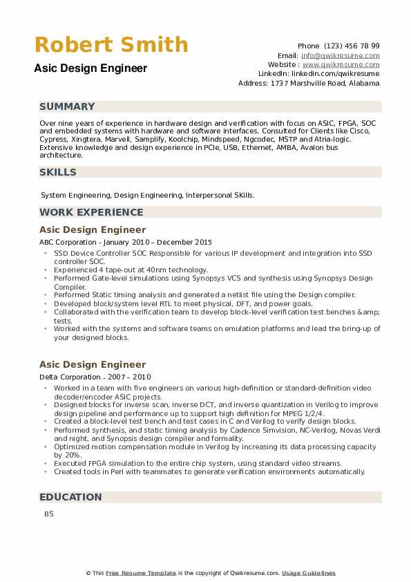 Asic Design Engineer Resume example