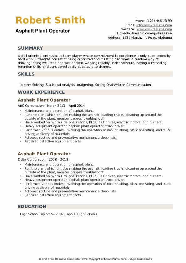 Asphalt Plant Operator Resume example