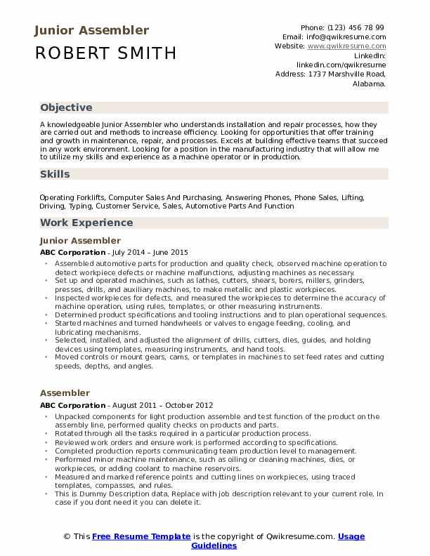 Junior Assembler Resume Format