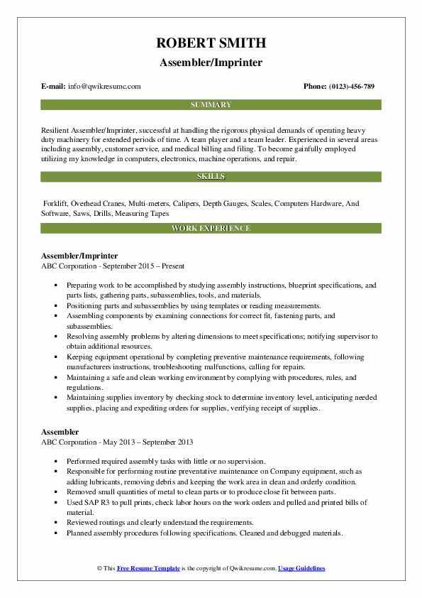 Assembler/Imprinter Resume Template