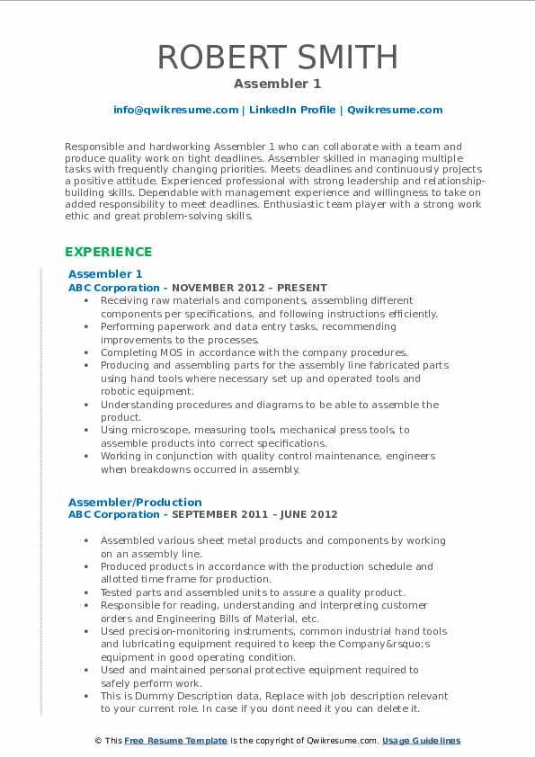 Assembler 1 Resume Sample