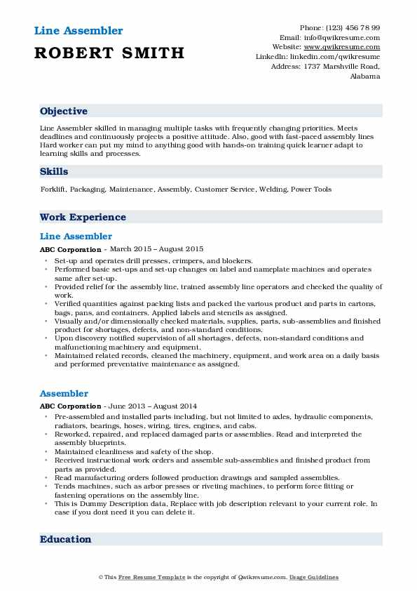Line Assembler Resume Example