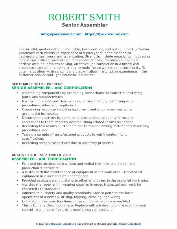 Senior Assembler Resume Format