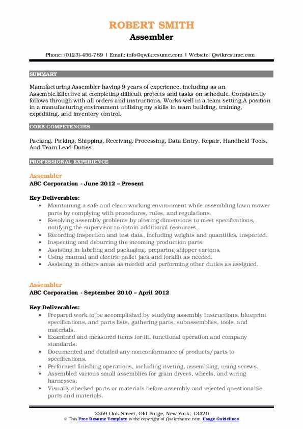 Assembler Resume Format