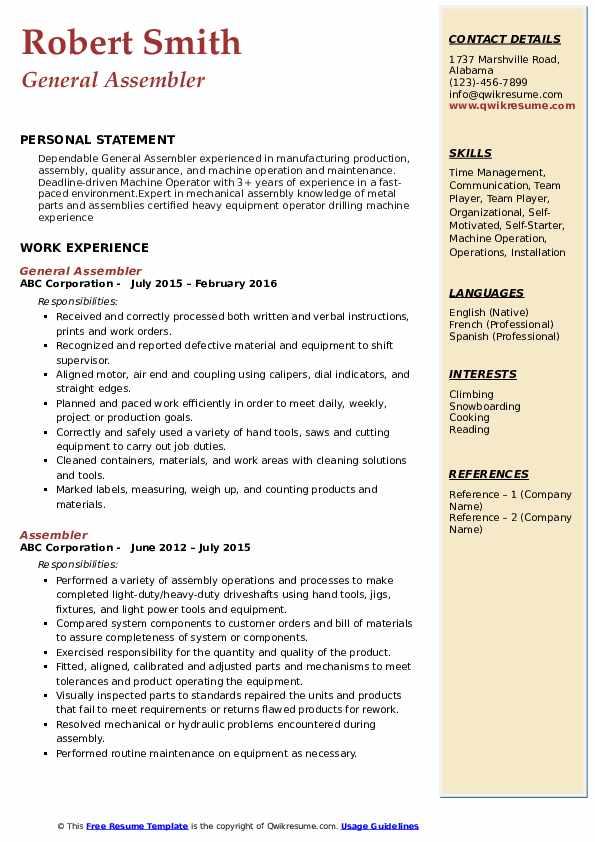General Assembler Resume Format