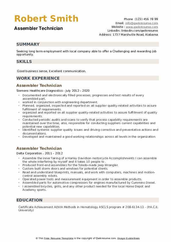 Assembler Technician Resume example