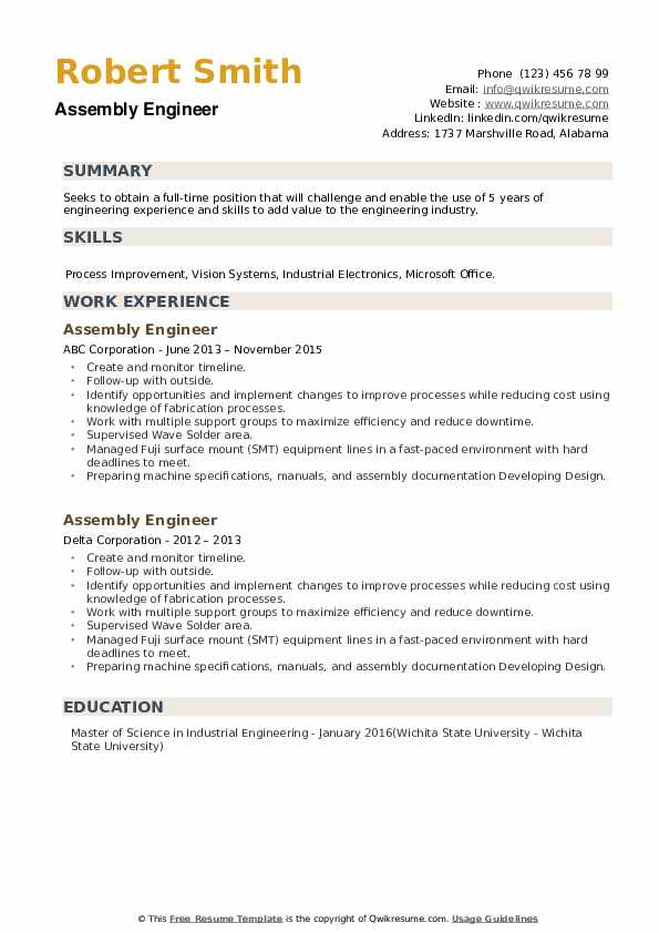 Assembly Engineer Resume example