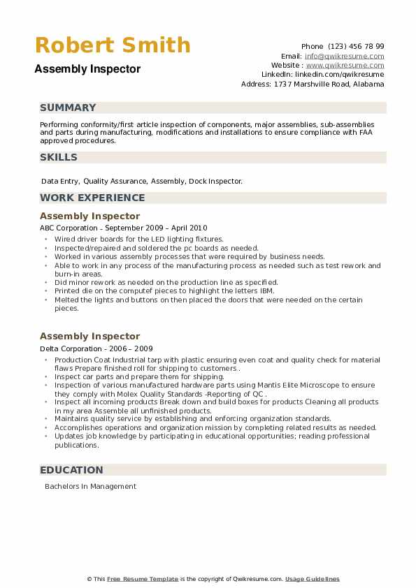 Assembly Inspector Resume example