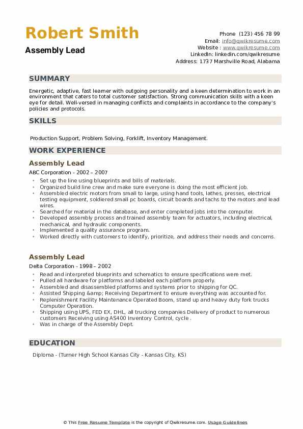 Assembly Lead Resume example