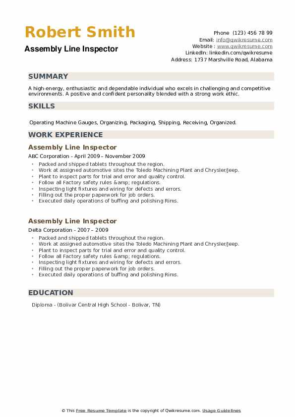 Assembly Line Inspector Resume example