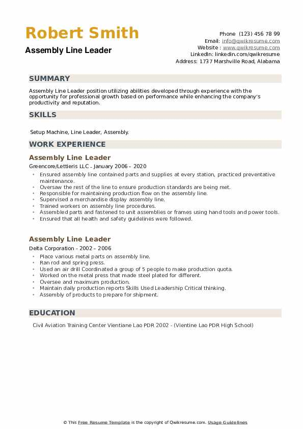 Assembly Line Leader Resume example