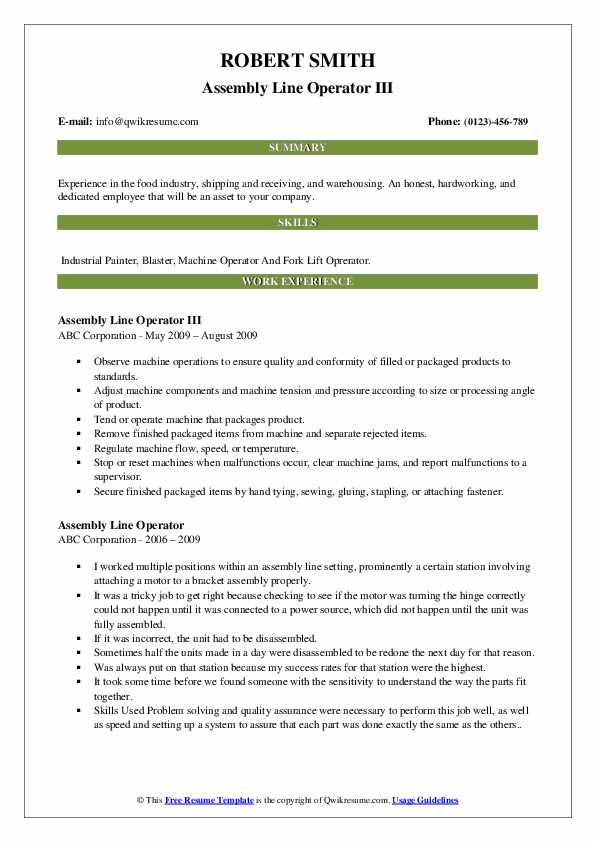 Assembly Line Operator III Resume Template