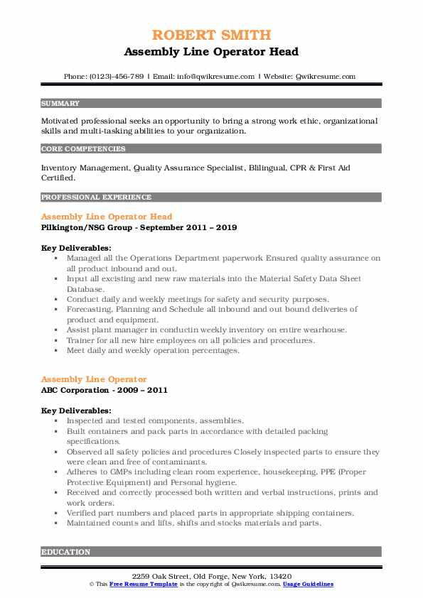 Assembly Line Operator Head Resume Format