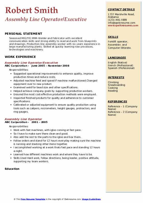 Assembly Line Operator/Executive Resume Sample