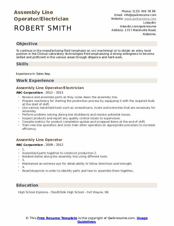 Assembly Line Operator/Electrician Resume Sample