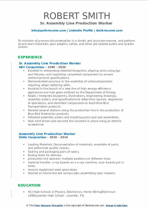 assembly line production worker resume samples  qwikresume