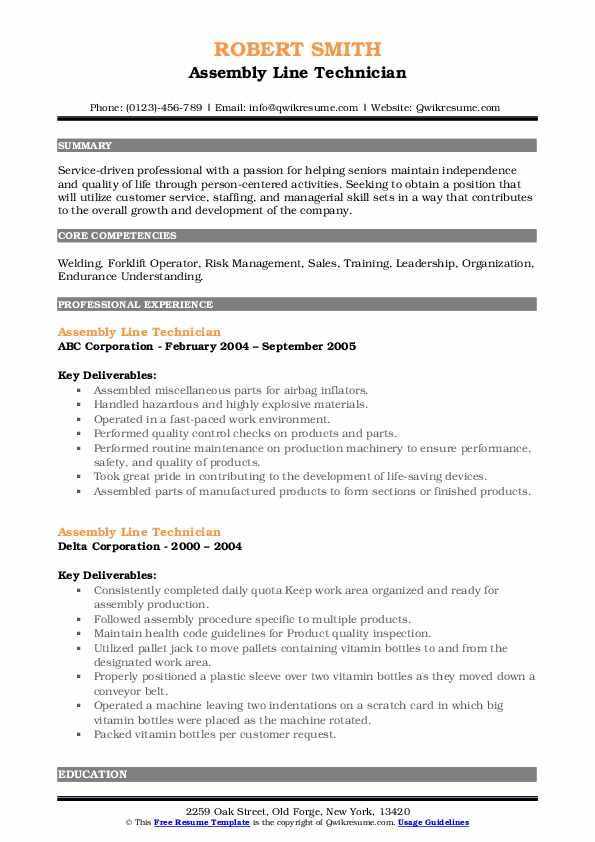assembly line technician resume samples  qwikresume