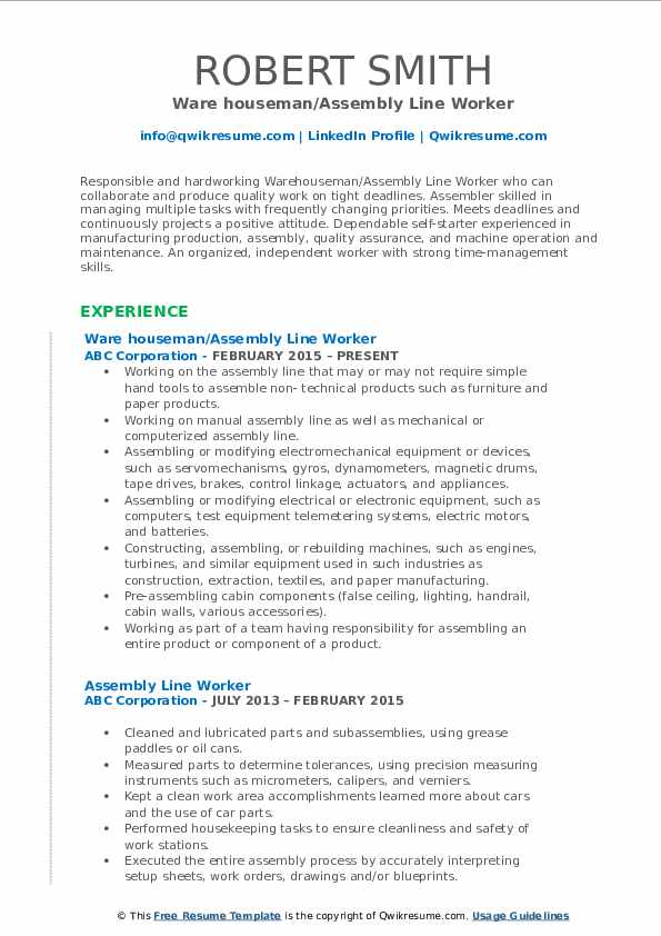 Ware houseman/Assembly Line Worker Resume Format