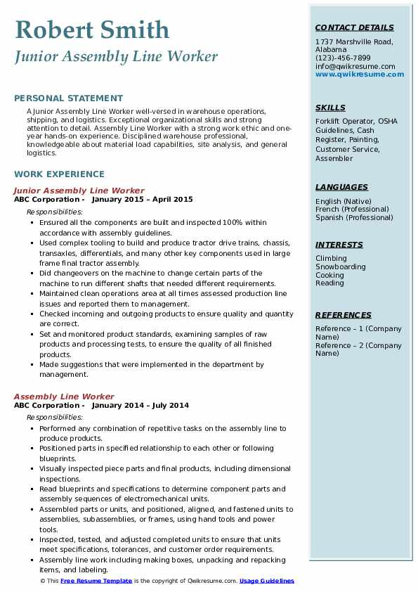 Assembly Line Worker Resume Samples Qwikresume