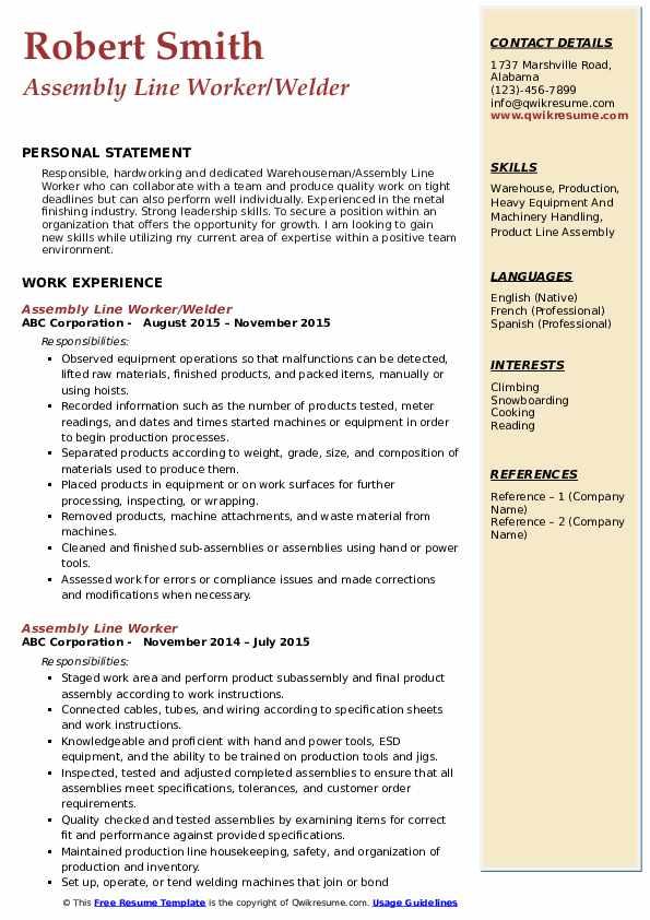 Assembly Line Worker/Welder Resume Model