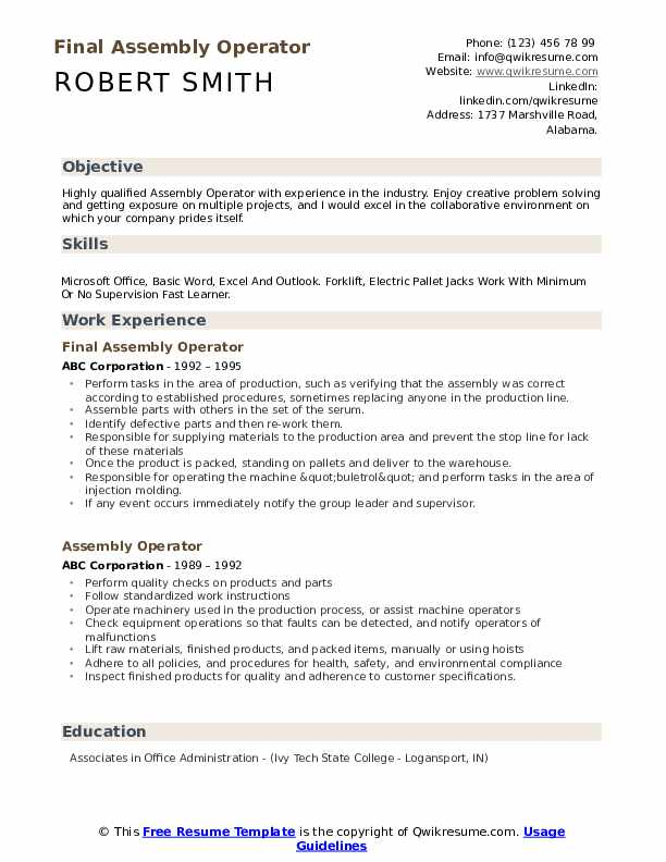 Final Assembly Operator Resume Model