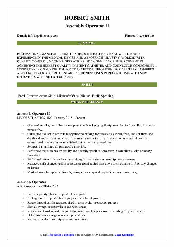 Assembly Operator II Resume Template