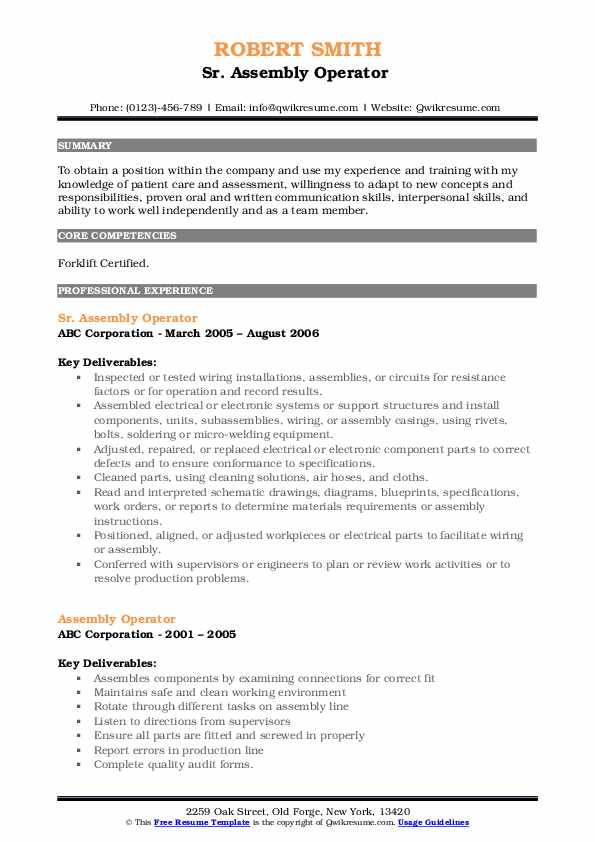 Sr. Assembly Operator  Resume Example