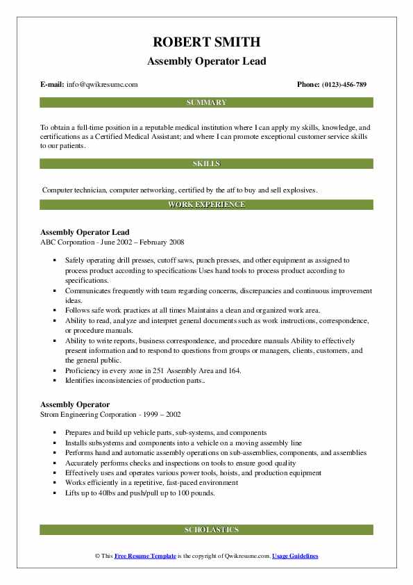 Assembly Operator Lead Resume Example