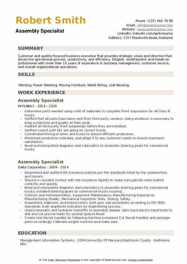 Assembly Specialist Resume example