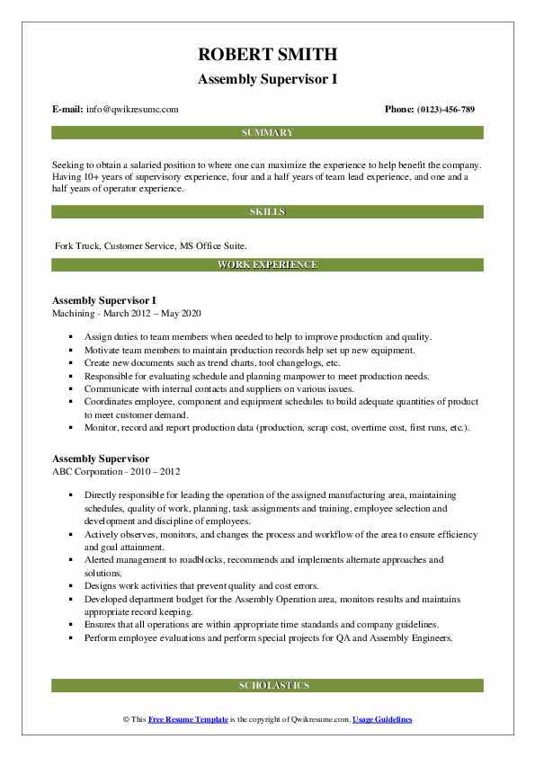 assembly supervisor resume samples  qwikresume