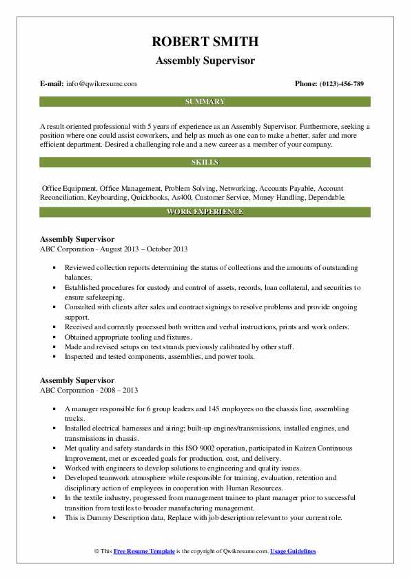 Assembly Supervisor Resume example