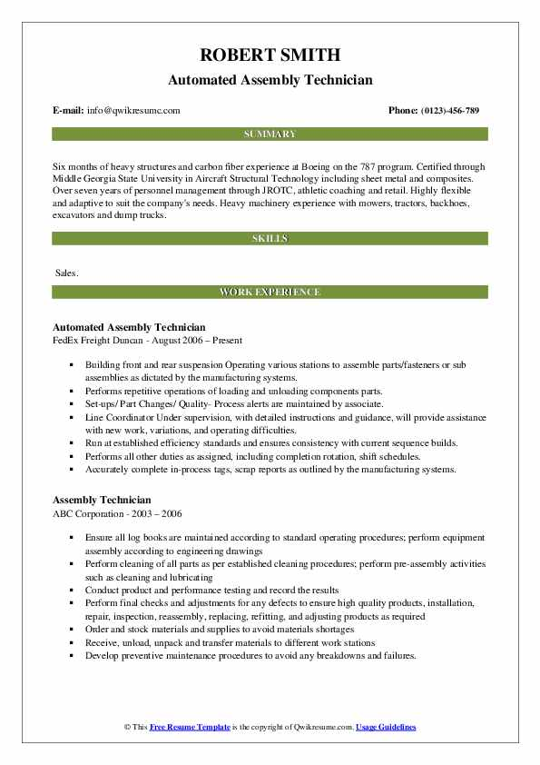 Automated Assembly Technician Resume Model