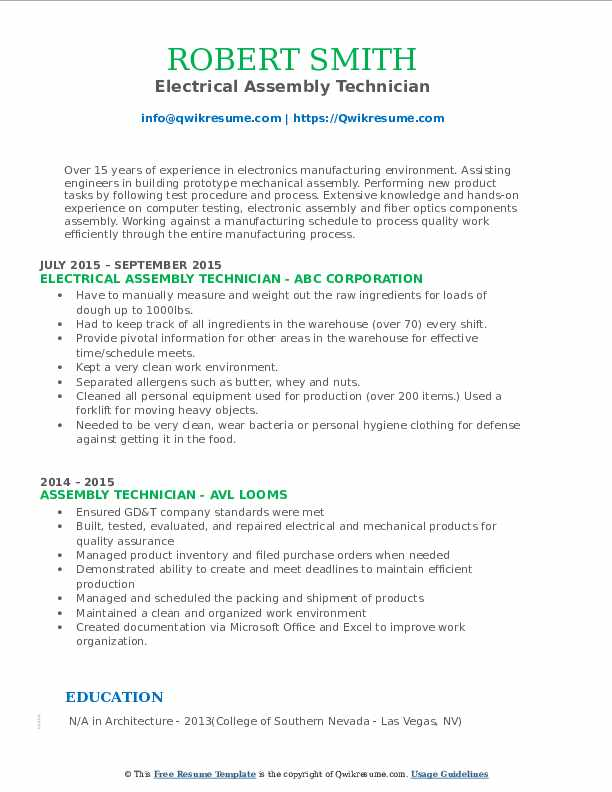 Electrical Assembly Technician Resume Template