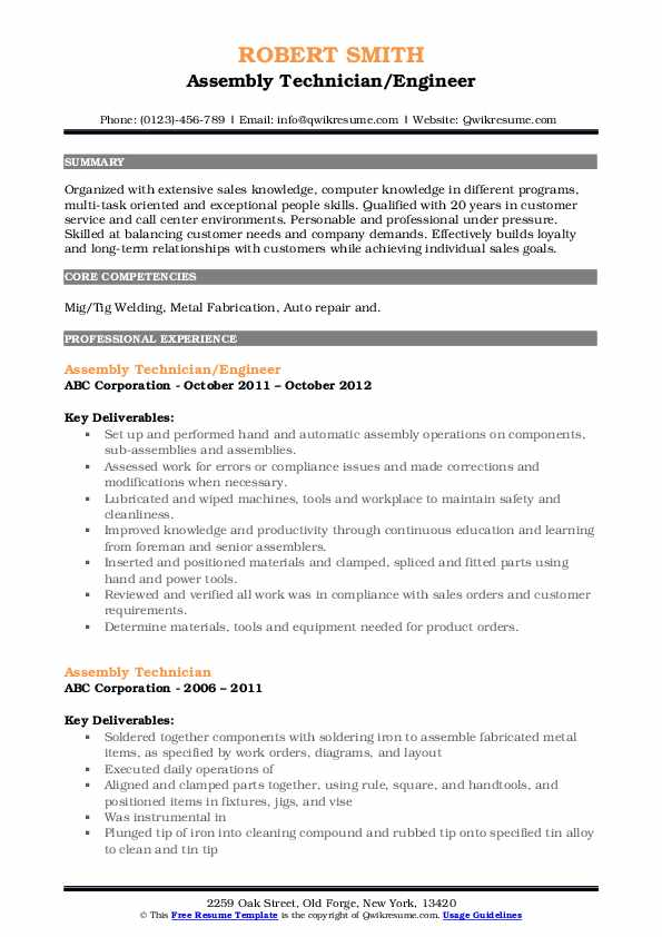 Assembly Technician/Engineer Resume Format