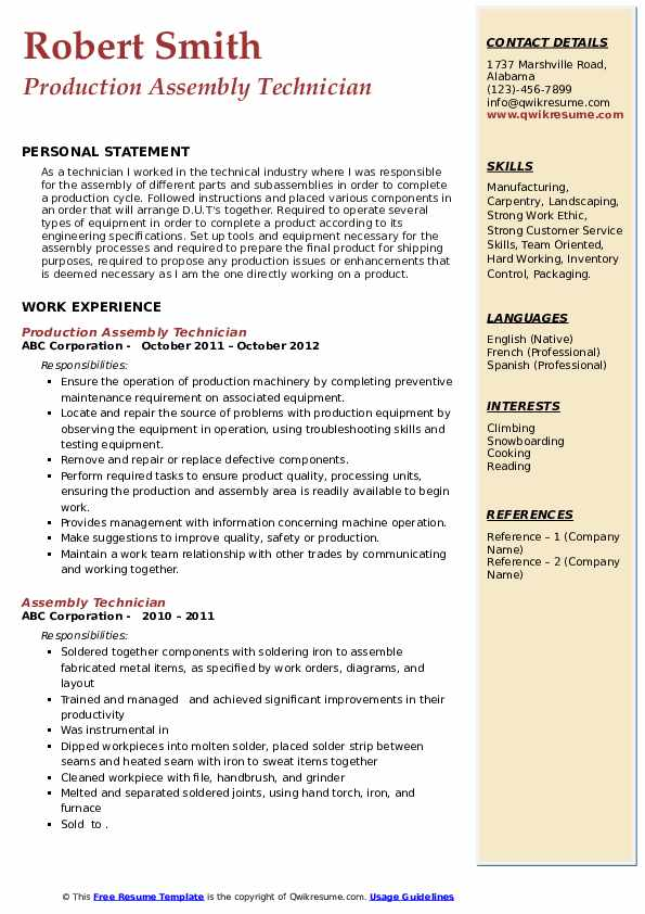 Production Assembly Technician Resume Sample
