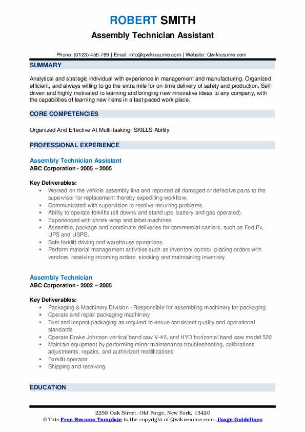Assembly Technician Assistant Resume Model