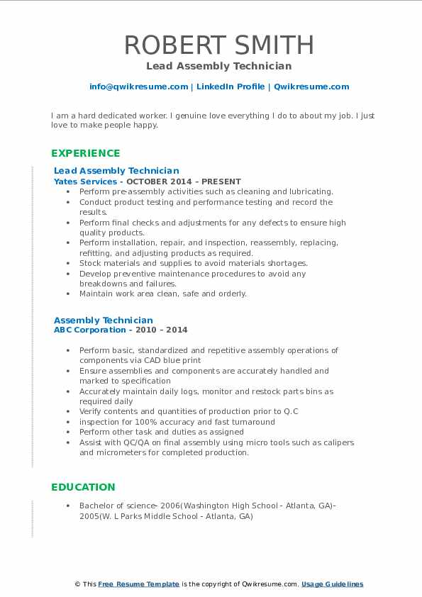 Lead Assembly Technician Resume Format