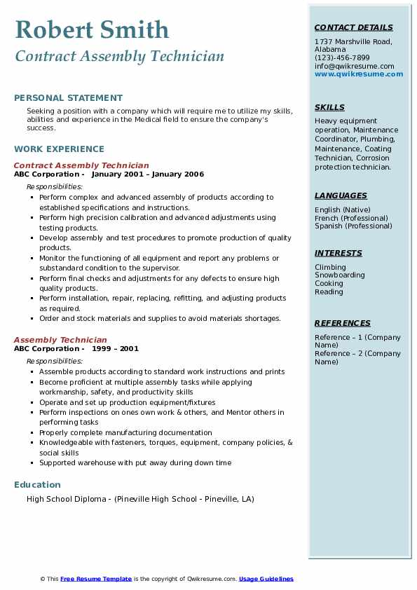 Contract Assembly Technician Resume Model