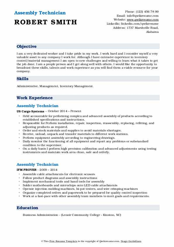 Assembly Technician Resume example