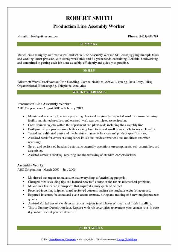 Production Line Assembly Worker Resume Sample
