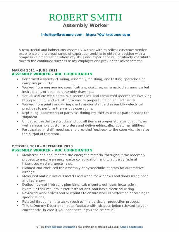 Assembly Worker Resume Model