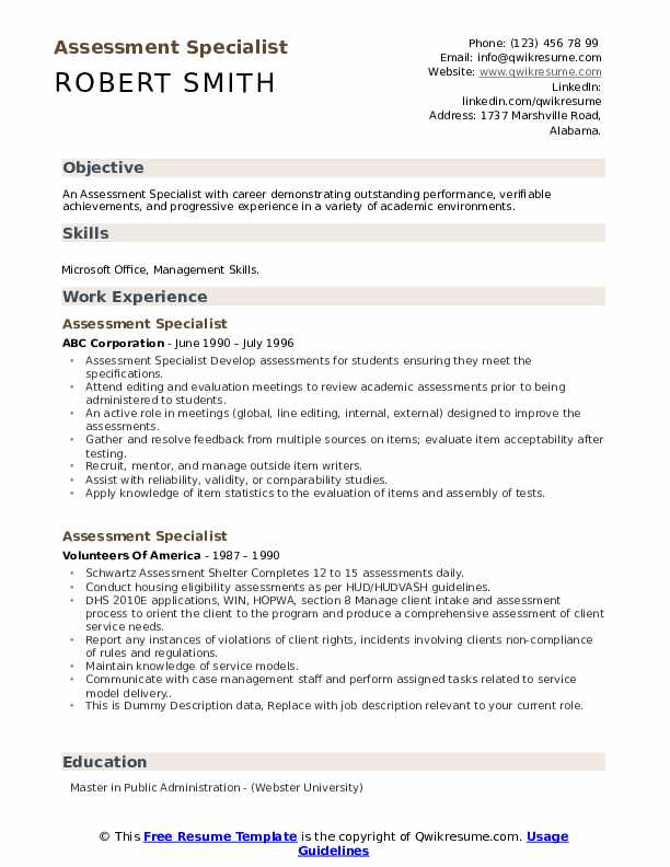 Assessment Specialist Resume example
