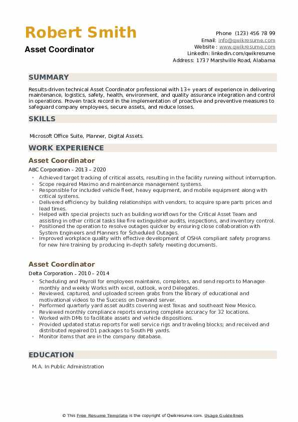 Asset Coordinator Resume example