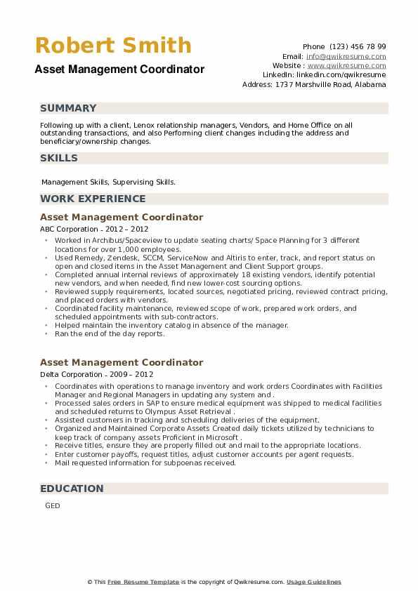 Asset Management Coordinator Resume example
