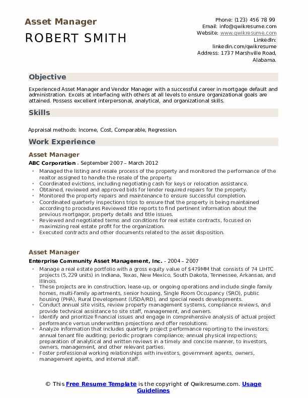 Asset Manager Resume Format