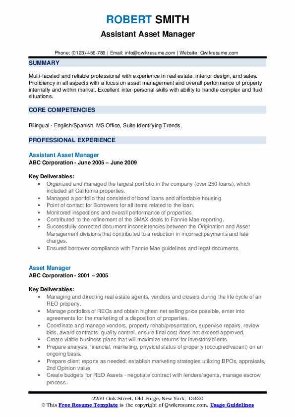 Assistant Asset Manager Resume Model