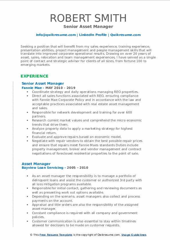 Senior Asset Manager Resume Model